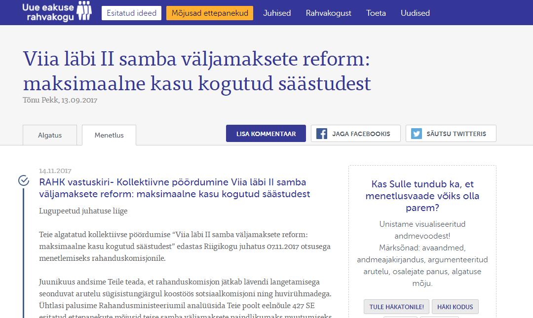 Uue eakuse rahvakogu teist ettepanekut arutab täna Riigikogu rahandus- ja sotsiaalkomisjon